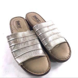 Born Leather Metallic Slide Sandals 10